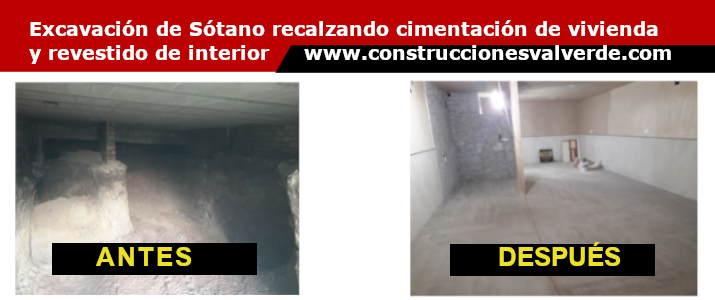 Construcción de Sótano bajo vivienda ya construida